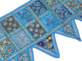 Blue Patchwork Window Valance Door Topper - Kundan Vintage Handmade Toran 60""