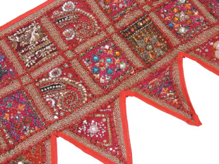 Red Patchwork Window Valance Door Topper - Kundan Vintage Handmade Toran 60""