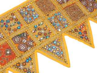 Yellow Patchwork Window Valance Door Topper - Kundan Vintage Handmade Toran 60""