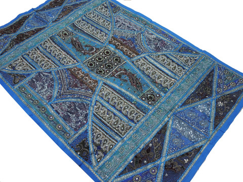 """Huge Blue Indian Wall Hanging - Handmade Vintage Beaded Exclusive Textile Tapestry 88"""""""