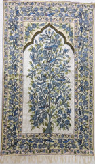 "Ivory Tree of Life Rug Tapestry - Crewel Chain Stitch Wool Embroidered Wall Decoration 60"" x 36"""