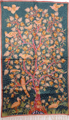 "Myrtle Green Tree of Life Rug Tapestry - Crewel Chain Stitch Embroidered Wall Decoration 60"" x 36"""