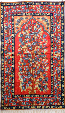 """Red Tree of Life Rug Tapestry - Crewel Chain Stitch Embroidered Wall Decoration 60"""" x 36"""""""