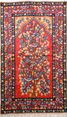 "Red Tree of Life Rug Tapestry - Crewel Chain Stitch Embroidered Wall Decoration 60"" x 36"""