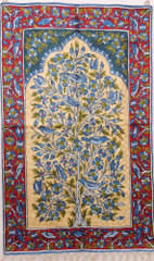 "Blue & Gold Decorative Wall Rug - Silk Yarn Hand Embroidery Tree of Life Large Tapestry 48"" x 30"""