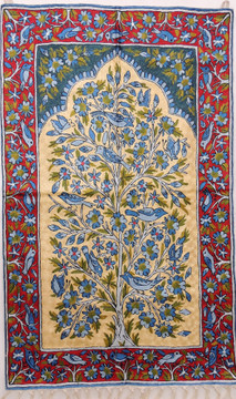 """Blue & Gold Decorative Wall Rug - Silk Yarn Hand Embroidery Tree of Life Large Tapestry 48"""" x 30"""""""
