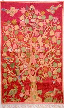 """Red Decorative Wall Rug - Silk Yarn Hand Embroidery Tree of Life Large Tapestry 48"""" x 30"""""""