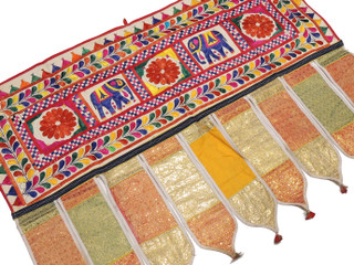 "Embroidered Vintage Gujarat Window Valance - Indian Toran Door Topper 41"" x 30"""