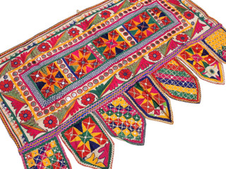 "Bohemian Geometric Embroidered Vintage Toran - Traditional Indian Window Topper 42"" x 27"""