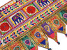 "Elephant Floral Embroidered Vintage Toran - Traditional Indian Window Topper 40"" x 26"""