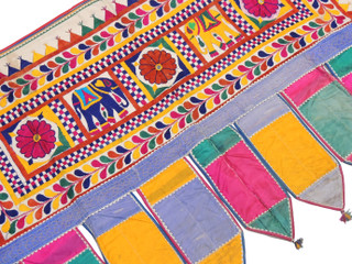 """Embroidered Elephant Floral Vintage Toran - Traditional Indian Window Topper 44"""" x 28"""""""