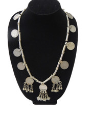 Gypsy Coin Necklace – Kuchi Metal Beads and Pendant Tribal Neck Jewelry from India