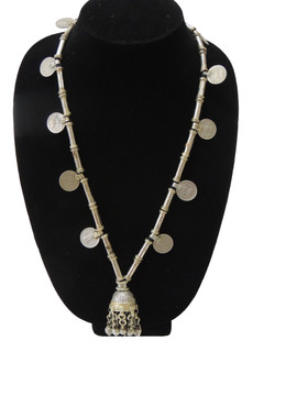 Gypsy Coin Pendant Necklace – Kuchi Metal Beads Tribal Neck Jewelry from India