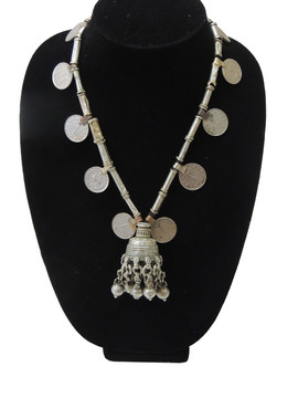 Unique Kuchi Bell Pendant Vintage Coin Tribal Nomads Necklace from India