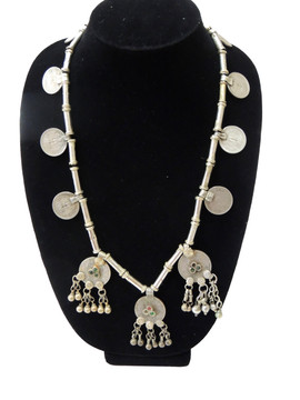 Kuchi Coin Pendant Vintage Tribal Nomads Metal Beads Necklace from India
