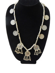 Coin Pendant Vintage Tribal Nomadic Metal Beads Beautiful Necklace from India