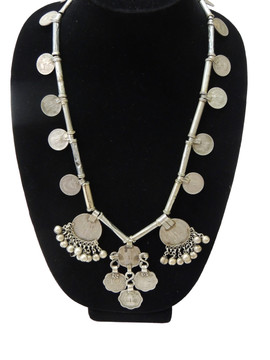 Large Coin Pendant Vintage Tribal Nomadic Metal Beads Stylish Necklace from India