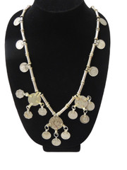 Stylish Large Coin Pendant Vintage Tribal Metal Beads Banjara Necklace from India
