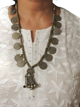 Stylish Coin Pendant Vintage Tribal Metal Beads Kuchi Necklace from India