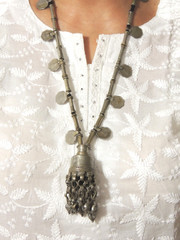 Vintage Coin Pendant Tribal Nomadic Metal Beads Stylish Kuchi Necklace from India