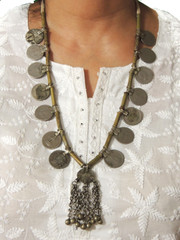 Vintage Coin Pendant Tribal Metal Beads Stylish Kuchi Necklace from India