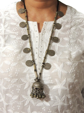 Vintage Unique Kuchi Bell Pendant Coin Tribal Nomads Necklace from India
