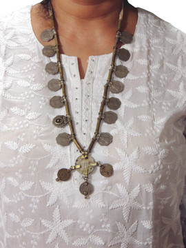 Vintage Boho Retro Style Pendant Coin Tribal Fashion Necklace from India