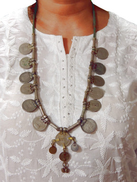 Boho Retro Pendant Coin Tribal Pewter Fashion Vintage Necklace from India