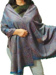 "Azure Blue & Burgundy Paisley Wool Shawl Wrap - Warm Ladies Dress Scarf 78"""