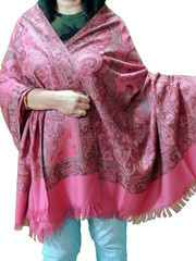 Brink Pink and Red Paisley Cozy Jamawar Dress Shawl Kashmir Wool Scarf Large Afghan 80""