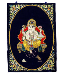 "Ganesha Blue Wall Hanging Rug Jewel Carpet Kashmir Hand Embroidery Indian Room Decor 36"" x 24"""