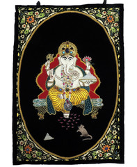 "Ganesha Black Wall Hanging Rug Jewel Carpet Kashmir Hand Embroidery Indian Room Decor 36"" x 24"""