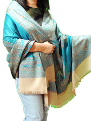 Turquoise and Beige Cozy Jamawar Dress Shawl Kashmir Wool Scarf Large Afghan 80""