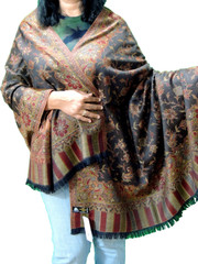 Dark Chocolate and Maroon Cozy Jamawar Dress Shawl Kashmir Wool Scarf Large Afghan 80""