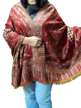 Burgundy and Taupe Floral Cozy Jamawar Dress Shawl Kashmir Wool Scarf Large Afghan 80""
