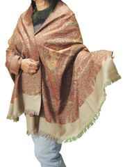Maroon Taupe and Goldenrod Embroidered Shoulder Shawl - Kashmir Floral Wool Scarf Afghan 80""