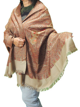"""Maroon Taupe and Goldenrod Embroidered Shoulder Shawl - Kashmir Floral Wool Scarf Afghan 80"""""""