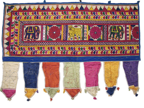 Vintage House Window Treatments Handcrafted India Home Decor Door Valance 41in