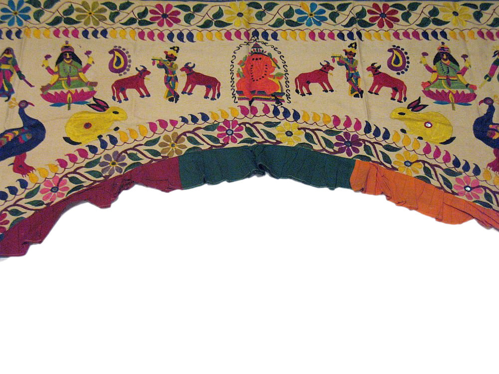 Ethnic Vintage Door Valance Kutch Hand Embroidered Door Topper Curtain Wall Hanging Home Decor Tapestry 74 x 56 Inches