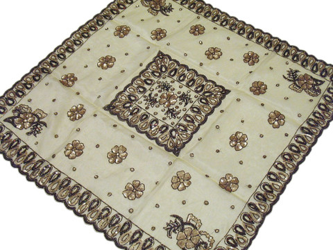 Elegant Unique Embroidered Tablecloth Lemon Chiffon Table Overlay Topper India