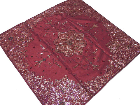 Elegant Party Tablecloth – Burgundy Handmade Sequin Work Unique Table Topper