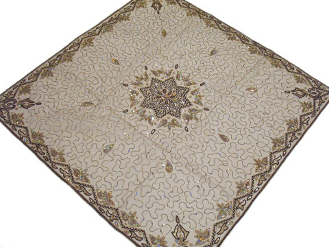 Handmade India Table Linen Topper Square Ecru Net Fabric Tablecloth Overlay 40in
