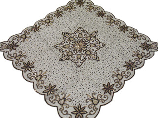 Decorative Tablecloth Overlay Topper Off White Indian Decor Handicraft Gift 40in