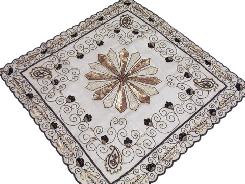 Beaded India Table Overlay Ivory Large Tablecloth Linen Topper Handicraft Gift