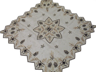 Beaded Ivory Table Overlay India Large Tablecloth Linen Topper Handicraft Gift
