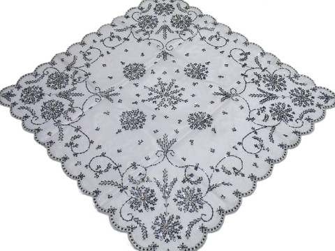 White Indian Handmade Tablecloth Decorative Embroidered Elegant Overlay 40in