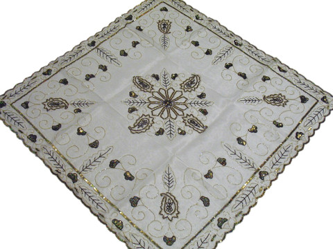 Wedding White Table Topper Organza Overlay Indian Handmade Square Beaded Cover