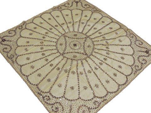 Gold Indian Table Topper Square Fine Luxury Handmade Tablecloth Overlay 40in