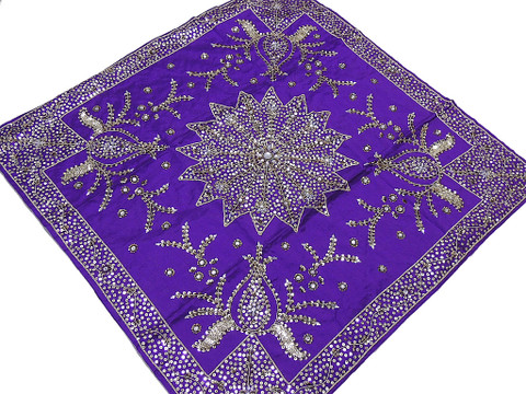 Embroidered Tablecloth – Purple Decorative Table Overlay Indian Handicraft Gift