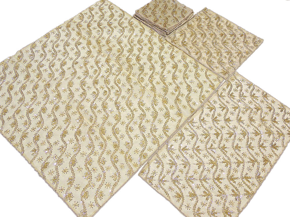 Cream Decorative Table Overlay Runner Set Placemats India